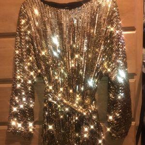 Fashion Nova Gold Sequin Dress